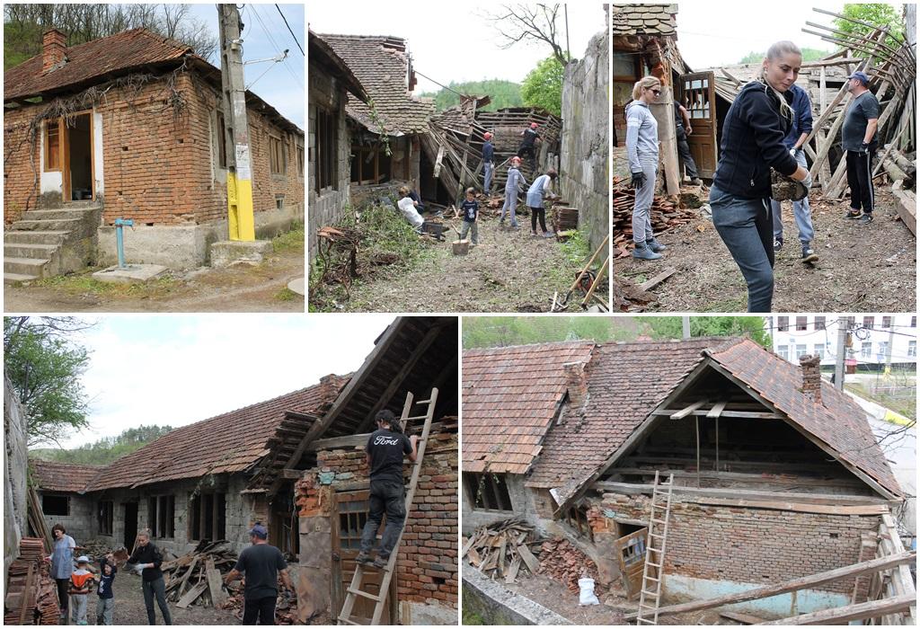 Colaj cu fotografii de la prima intervenție la Casa Pârvova